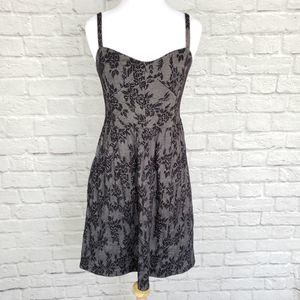 Lilka Ettie Black Jacquard Chemise Floral Dress